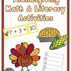 Math & Literacy Activities for Thanksgiving