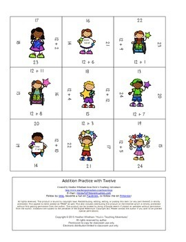 Math Magic Square FREEBIE - Adding with 0 and 12!