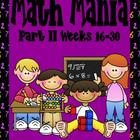 Math Mania Part II-Weeks 16-30 Homework and Tests