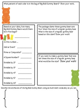 Math Mat Review Activity:  Big Bold Gummy Bears (Trolli)