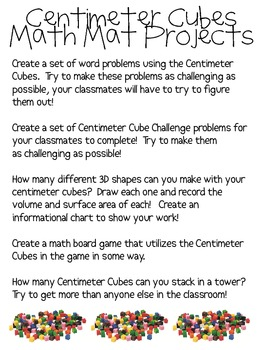 Math Mat Review Activity:  Centimeter Cubes