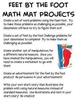 Math Mat Review Activity:  Feet by the Foot