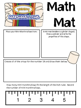 Math Mat Review Activity:  Mini Marshmallows   FREE