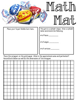 Math Mat Review Activity:  Super Bubble Gum