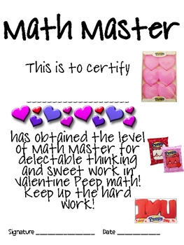 Math Mat Review Activity:  Valentine Peeps