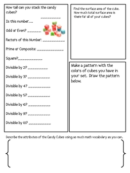 Math Mat Review Activity:  Warheads Candy Cubes