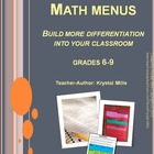 Math Menus: Differentiating Math Activities Grades 6-9
