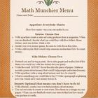 Math Munchies Menus Packet