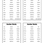 Math Number Words for Math Journal