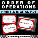 Order of Operations Math Task Cards 5th 6th Grade Common C