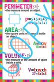 Math - Perimeter, Area and Volume Poster - 24x36