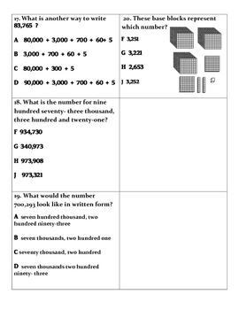 Math: Place Value Assessment & Study Guide for numbers 0- 999,999