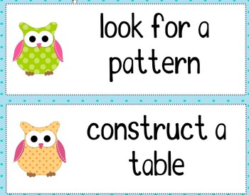 Math Problem Solving Strategies - Owl Theme