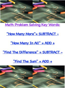 Math Problem Solving Strategy Chart Key Words How Many In