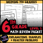Math Review Packet for 6th - 7th Grades