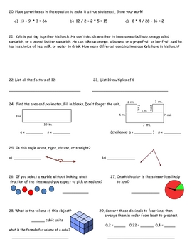 Math Review for State Testing