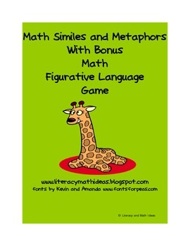 Math Similes & Metaphors Plus Math Figurative Language Game