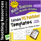 Math Stations for Middle Grades MS Publisher Templates