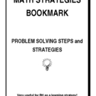 Math Strategies Bookmark - Useful for RtI!