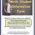 Math Student Information Form for the Beginning of School