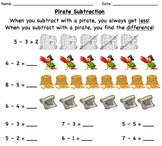 Math Subtraction with Pirates: 1 and 2 digit numbers