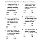 Math Subtraction word problems pre-post assessment (ITBS style)