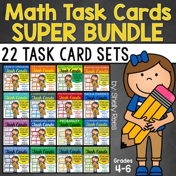 BlackFriday14 Math Task Card Bundle for Grades 4-6 - 13 Ta