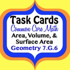 Math Task Cards for 7th Geometry - Area, Volume, & Surface