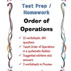 Math Test Prep Homework / Order of Operations