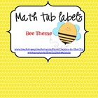 Math Tub Labels (Bee Theme)