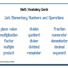 Math Vocabulary Cards: Elementary Numbers and Operations