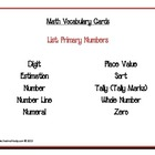 Math Vocabulary Cards: Primary Numbers