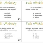 Math Vocabulary Task Cards