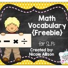 Math Vocabulary Visual for the SLP Freebie
