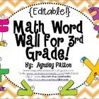 Math Word Wall for 3rd Grade