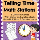 Math Work Station - Telling Time - hour/half hour