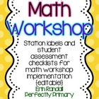 Math Workshop Station Cards and Checklists {editable!}