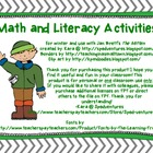 Math and Literacy Activities for Jan Brett&#039;s &quot;The Mitten&quot;