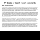 Math and Science Report comments - 5th Grade or Y6