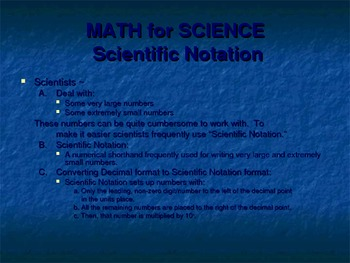 Math for Science - Scientific Notation PowerPoint