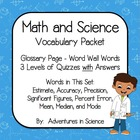Mathematics and Science Vocabulary Packet