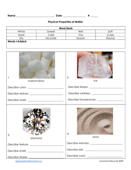 Matter / States of Matter - Elementary Unit Worksheets