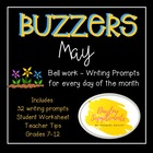 May Buzzer Packet (Bell Work-Journal) Common Core Writing Prompts