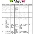 May Homework Calendar for Kindergarten