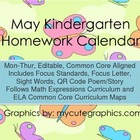 May Mon.-Thur. Common Core Kindergarten 4 Week Homework Calendar