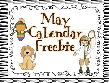 May Zoo Animals/Safari Calendar Numbers Freebie
