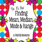 Mean, Median, Mode & Range Fold-Up Resource