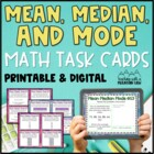 Mean, Median, Mode, Range Task Cards for teaching Mean Med