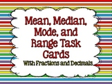 Mean, Median, Mode, and Range Task Cards {With Fractions a