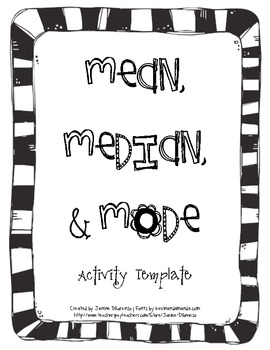 Mean, Median, and Mode Activity Sheet